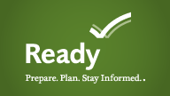 Ready.gov Logo. This federal program helps people plan ahead for disasters.
