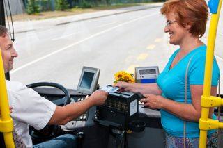 woman entering bus